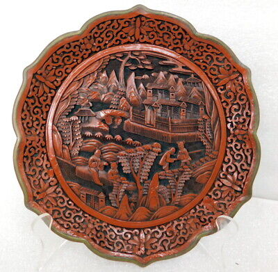 Antique Chinese Qianlong deep carved cinnabar lacquer tray charger brass signed