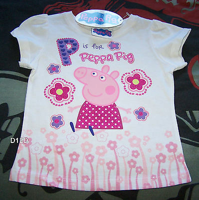 Peppa Pig Girls White Printed Short Sleeve T Shirt Size 5 New Genuine Licensed