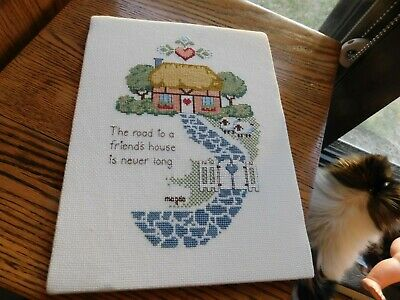 Road to Friend's House Cross Stitch Panel COMPLETED Handmade w/ Sheep Sampler