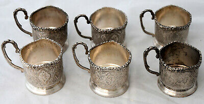 Antique 6 Hand Engraved Persian Silver Tea Cup Holders Set