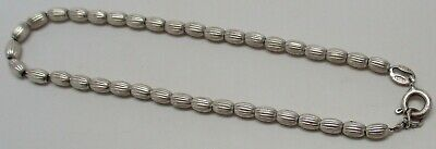 "Vintage STERLING SILVER Scalloped Bead Chain 7-1/2"" Italian Bracelet - GORGEOUS!"