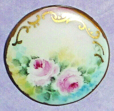 Antique Victorian Hand Painted Porcelain Pink Roses Signed Back Mark Button