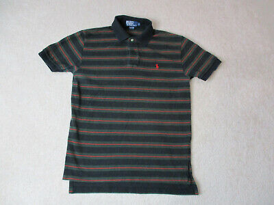 f5b515e147 VINTAGE Ralph Lauren Polo Shirt Adult Medium Black Green Striped Pony Rugby  90s