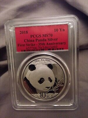 2018 30g Silver China Panda 10Yn PCGS MS70 First Strike 35th Anniversary Red Lab