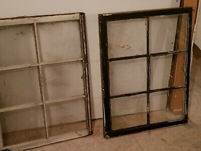 4 VINTAGE SASH ANTIQUE WOOD WINDOW UNIQUE FRAME 36x24 6 PANE and two 6 pane27x18