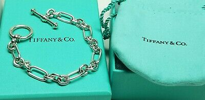 Tiffany & Co. Paloma Picasso Sterling Silver Toggle Chain Bracelet w/bag & box