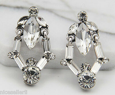 BOHO Fashion White Crystal Ear Drop Dangle Stud long Ancient Silver Earrings 280