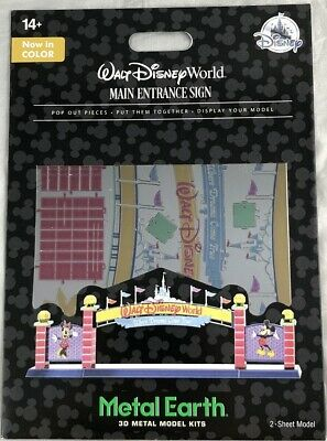 Disney Parks WDW Main Entrance Sign Metal Earth 3D Model Kits Walt World - NEW