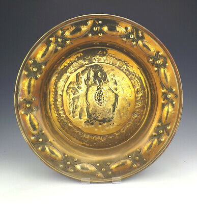 Antique 19th C German Hand Crafted Joshua & Caleb Brass Alms Dish - Lovely!