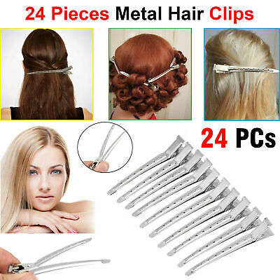 24x Hair Sectioning Clips Metal Alligator Hairdressing Salon Grip Clamps Clip UK