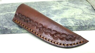 "Leather Stamped Fixed Blade Knife Belt Sheath for up to 4.5"" Blades"