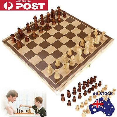 40cm Large Chess Wooden Set Folding Chessboard Pieces Wood Board AU