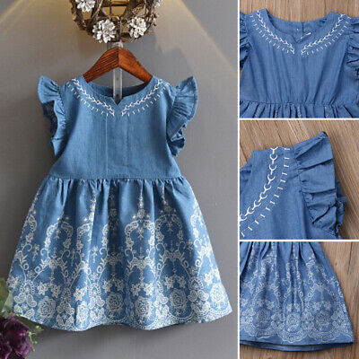 Kids Baby Girls Fly Sleeve Princess Dress Outfit Denim Party Sundress Clothes US