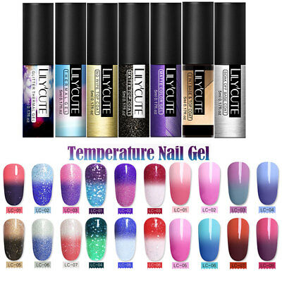 LILYCUTE 5ml Temperature Mood Color Change Nail Gel Polish Soak-off Chameleon UV
