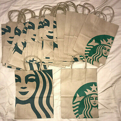 27x Starbucks Reusable Brown Paper Shopping Lunch Bag With Handles - 2 Styles