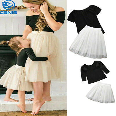 Mother&Daughter Dress Matching Mom Girls Solid Top Lace Dress Family Clothes UK