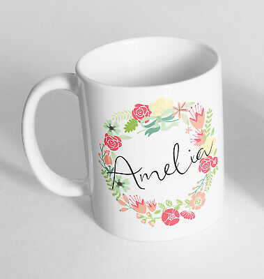Personalised Any Name Floral Printed Ceramic Novelty Mug Funny Gift Coffee Tea 1