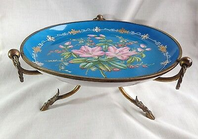 Antique 19thC French Ormolu Tazza Comport Compote Turquoise Lilies