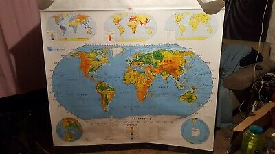 Nystrom World & US Pull Down Classroom Map 2 Maps 1SR991