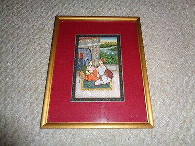 Hand painted Krishna Radha persian mugal miniature painting on slate stone