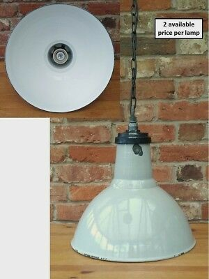 "Vintage Grey 16"" Thorlux 1950s Industrial Enamel Lamp/Lights REWIRED 2 available"