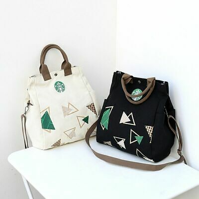 Women's sports Shoulder Bag Starbucks Print Tote Canvas Cross Body Satchel Bags