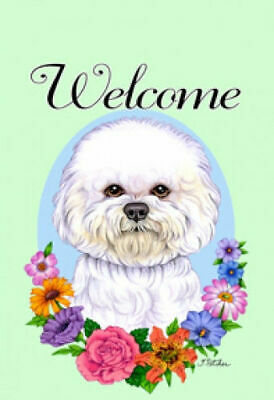Welcome Flowers House Flag - Bichon Frise 63037