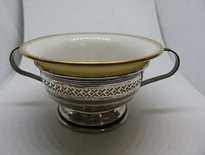Lenox China Cream Soup Bouillon Bowl Sterling Silver Insert Liner Gold Rim 79.6g