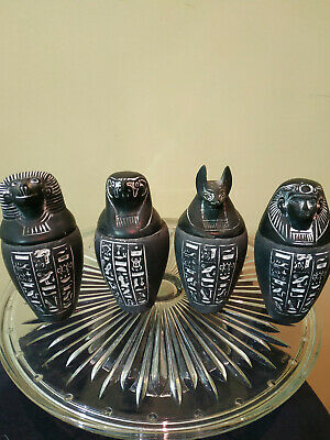 EGYPTIAN ANTIQU RARE ANCIENT E 4 Canopic Jars Statues For decoration