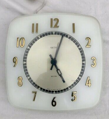 Mid Century Smiths Sectric White Wall Clock All Tested Working Vintage Retro Vgc