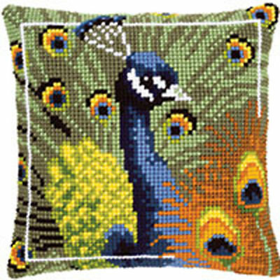 Chunky Cross stitch cushion front kit Peacock 40x40cm tapestry canvas Vervaco