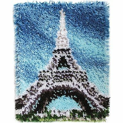 "Eiffel Tower Latch Hook Kit 15x20"" By Caron Wonderart. No Tool Included."