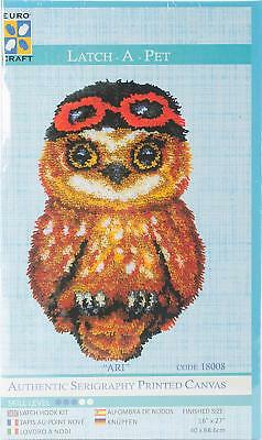 Euro Craft Latch Hook Kit - Ari Owl - Printed canvas, yarns and tool. 16x27""