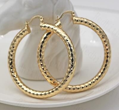 "18K Gold Filled Earrings 2.1"" Big Hoop Geometry Concave Bling Bling Party SW"