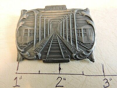 "Rare Brooklyn New York City Subway Tunnel 2"" Pin Marked Sterling"