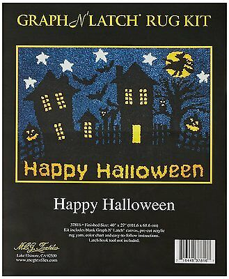 "Happy Halloween Latch Hook Kit Rug Making Kit 27x40"" MCG Textiles No Tool"