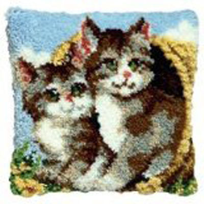 Pako Kittens in a basket latch hook kit cushion front kit 40x40cm rug canvas