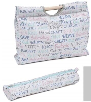 Knitting Bags Knit Bags Sewing Bag & Matching Needle Holder Habby Words Design