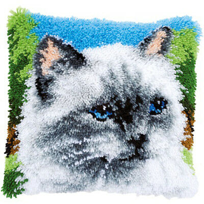 Rag Doll Cat Persian Cat Latch Hook Kit Cushion Front kit 40x40cm By Vervaco