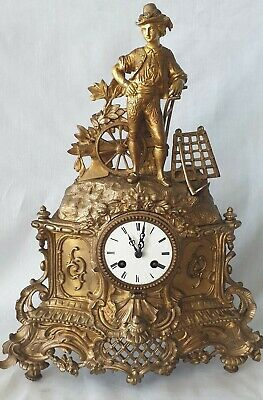 Antique Mantel Clock Japy Freres French 19c Pendulum 8 Day Bell Strike