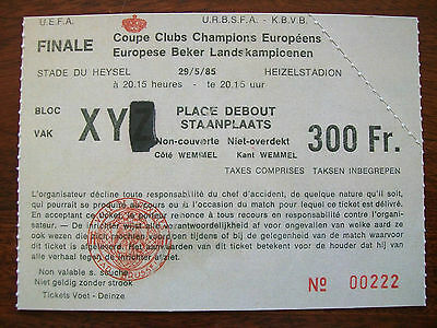 Vintage 1985 European Cup Final Ticket Liverpool v Juventus Heysel Stadium Repro