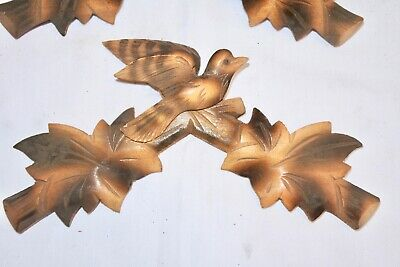 "Vintage Wooden Leaves Birds Cuckoo Clock Parts Top Topper Trim 7 5/8"" #11ym .."
