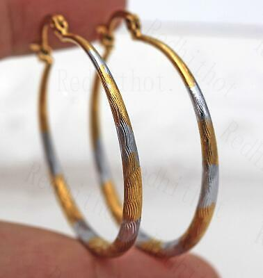 "18K Gold Filled Earrings 1.7"" Big Hoop 2-Color-Plated Geometry Concave Party SW"
