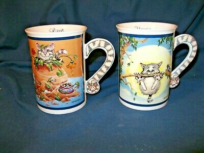 """TWO DANBURY MINT COMICAL CATS MUGS / CUPS """"HANG in THERE"""" & """"LITTLE RASCAL"""""""