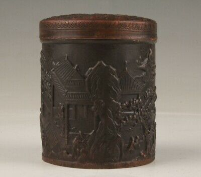 Chinese Old Bronze Handmade Casting Antique Mansion Tea Box Gift Collection
