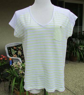 J Jill Lime/Yellow on White Stripes Tee/Top/Blouse-Petite Small (try Med)
