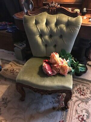 Antique Victorian Buttoned Back Occasional Chair In Period Green Velvet