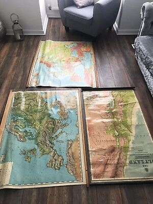 3 Large Vintage Cloth Maps Europe And The Holyland