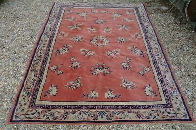 Vintage Chinese Art Deco Wool Rug 7.5' Walter Nichols Period Design 1930's Chic