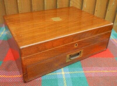 Antique Edwardian Fine Mahogany Two Tier Fitted Cutlery Box With Drawer